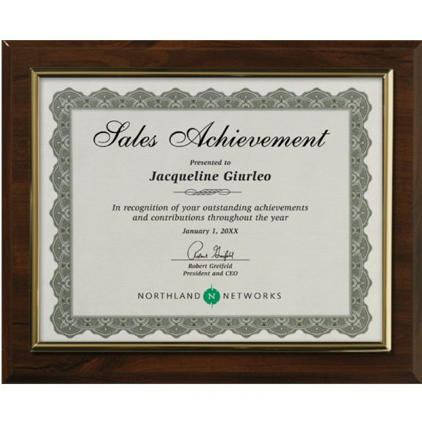 Cherry Finish Gold Frame Certificate Holder