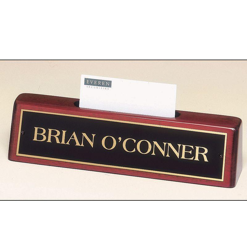 Piano-Finish Nameplate with Business Cardholder - AwardMakersAwardMakers