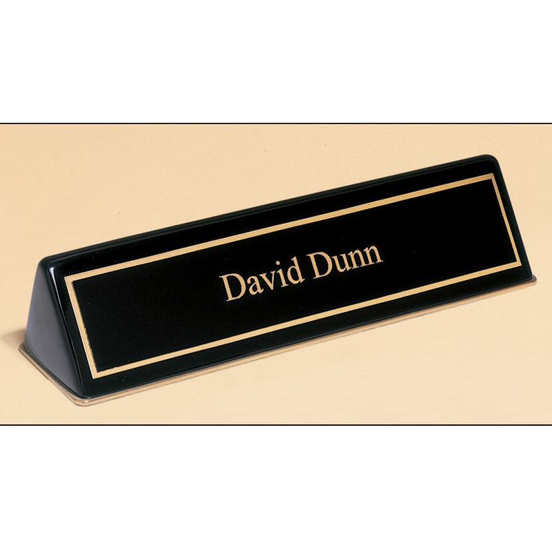 Black Piano Finish Desk Nameplate
