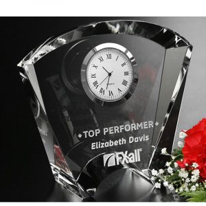 Fanfare Optical Crystal Clock Award