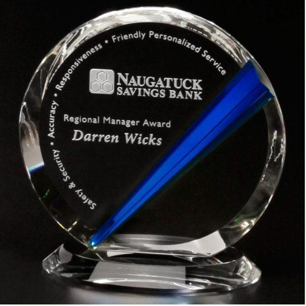 Danbury Indigo Circle Optical Crystal Award