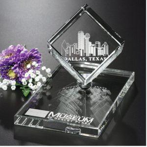 Optical Crystal Spinning Cube Award