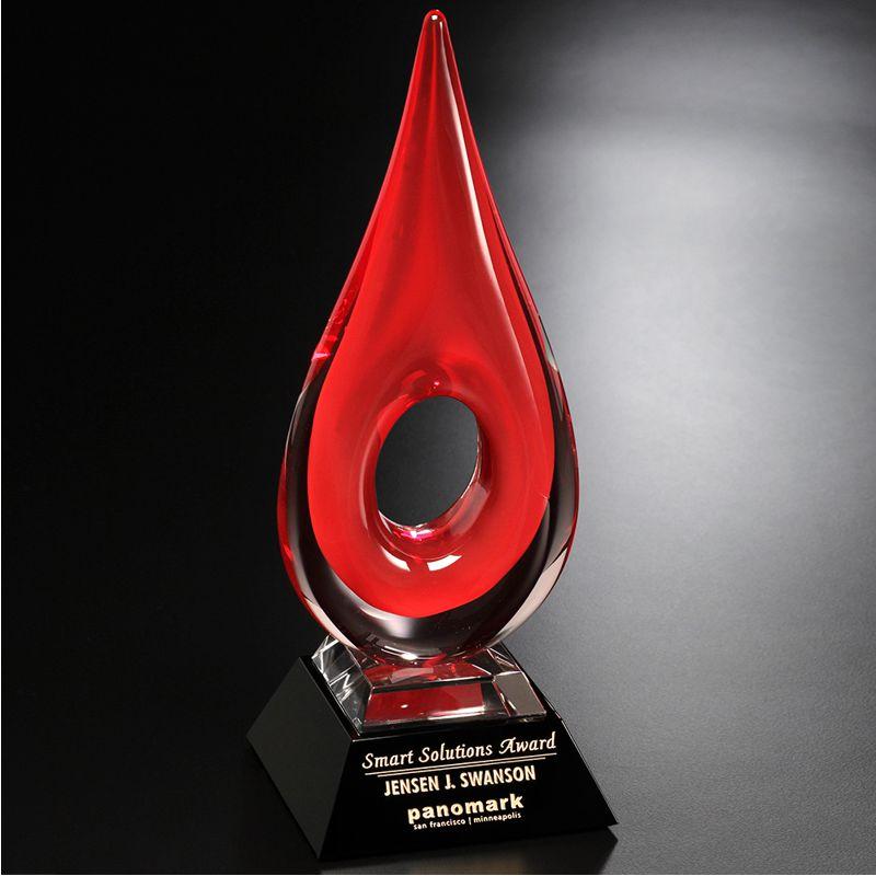 Cardinal Teardrop Art Glass Achievement Award