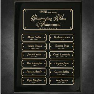 Ebony Piano Finish 12 Plate Perpetual Plaque