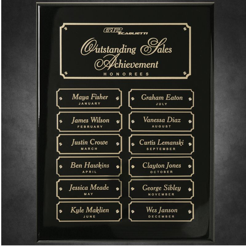 Ebony Piano Finish 12 Plate Perpetual Plaque