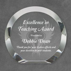 Cambridge Round Bevel Crystal Award