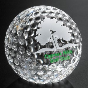 Optical Crystal Clipped Golf Ball Paperweight