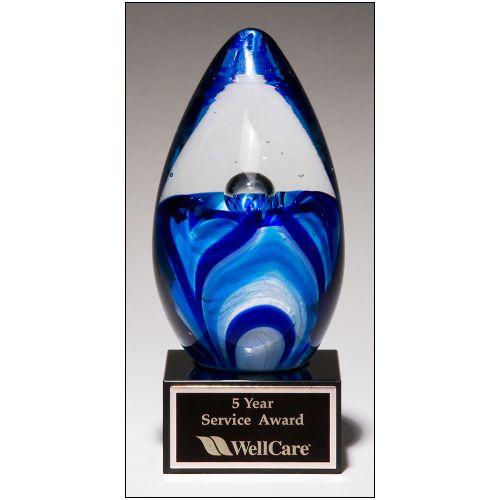 Art Glass Swirling Blue Egg Shape Award