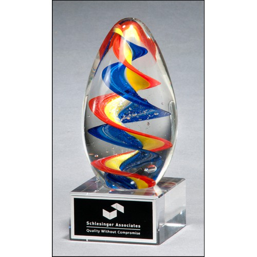 Multi-Color Egg Shape Art Glass Award