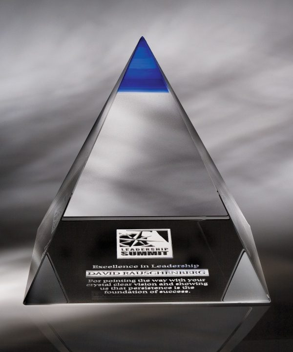 Blue Majestic Optical Crystal Pyramid Award