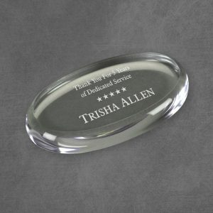 Clear Oval Acrylic Paperweight