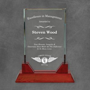 Heathrow Clear Glass Award on Rosewood Finish Base