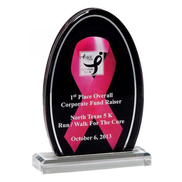 Pink Ribbon Breast Cancer Awareness Acrylic Award