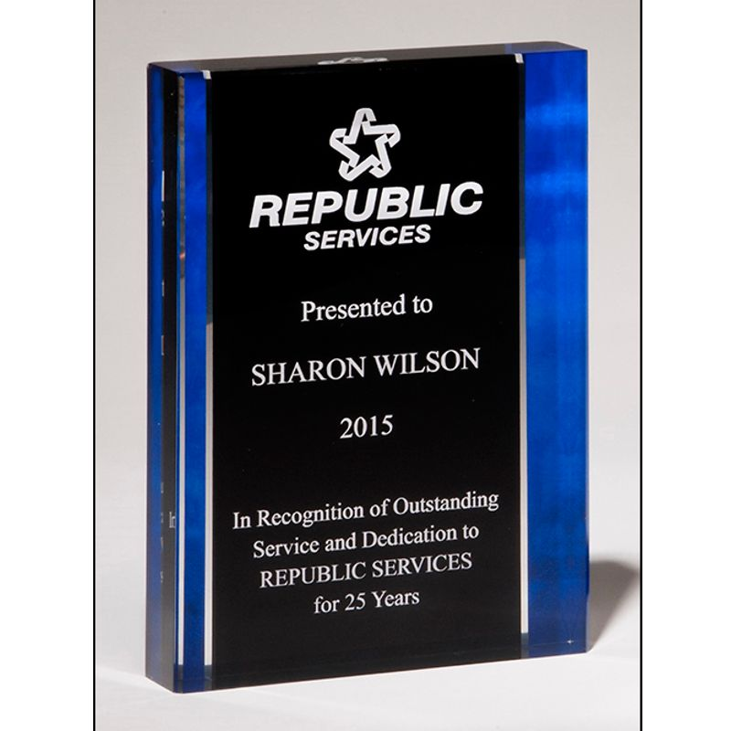 Blue Accented Stand Up Acrylic Award
