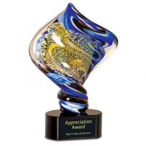 Gold Dust Diamond Helix Art Glass Award