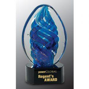 Blue Gold Dust Swirl Art Glass Award