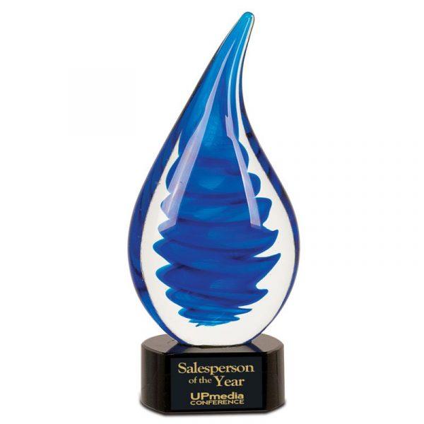 Blue Spiral Raindrop Art Glass Award