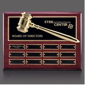 Board of Directors Gold Gavel Perpetual Plaque