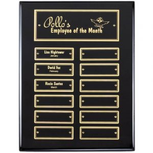 Employee Monthly Recognition Ebony Gold Plaque