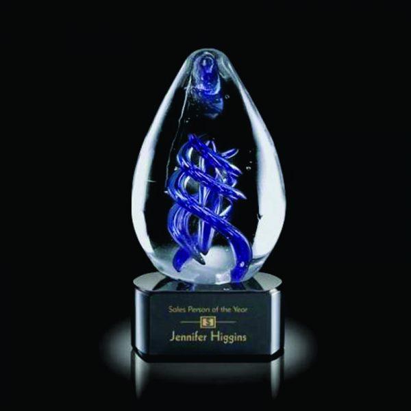 Blue Entanglement Hand Made Art Glass Award