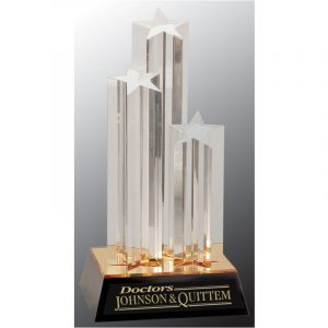 Triple Golden Star Acrylic Award