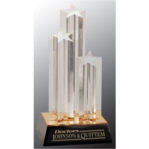 Triple Golden Star Acrylic Award