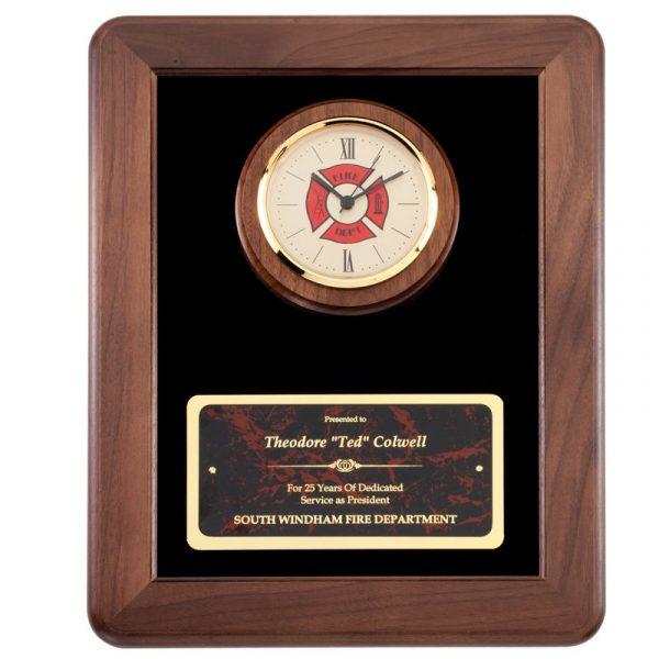 Walnut Frame Fireman Clock Plaque