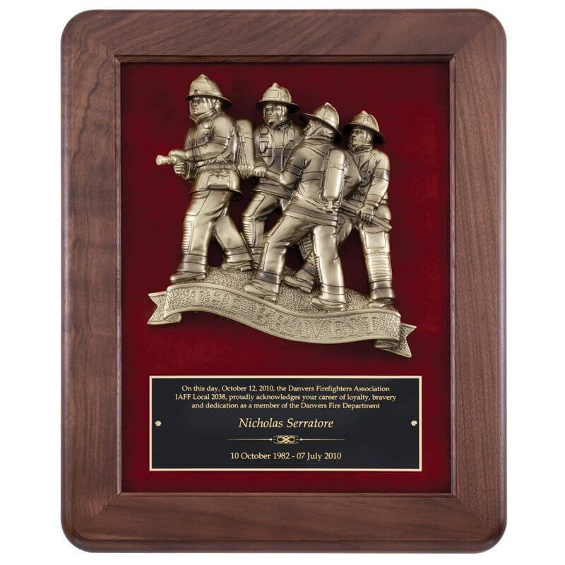 """The Bravest"" Antique Bronze Casting in Walnut Frame"