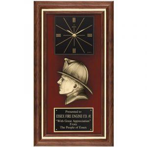 Fireman's Head Walnut Framed Quartz Clock Plaque