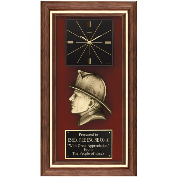 Fireman's Head Walnut Framed Quartz Clock Plaque