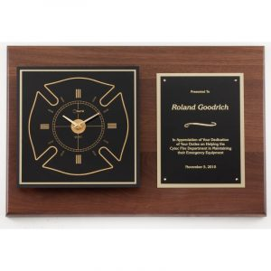 American Walnut Maltese Cross Clock Plaque