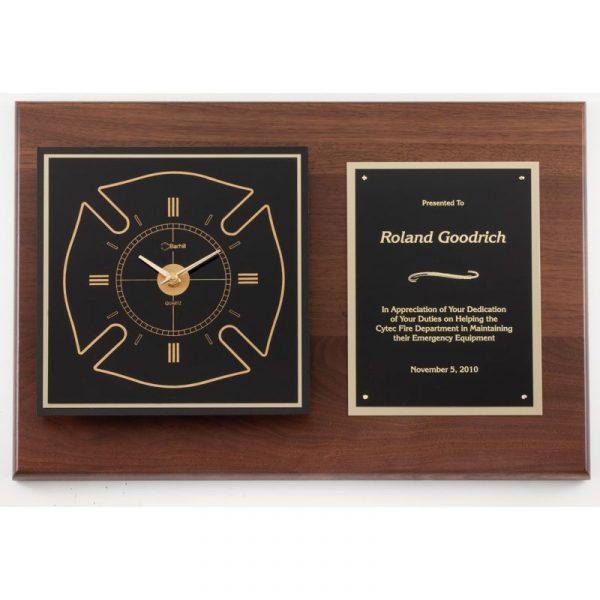 American Walnut Maltese Cross Clock Plaque