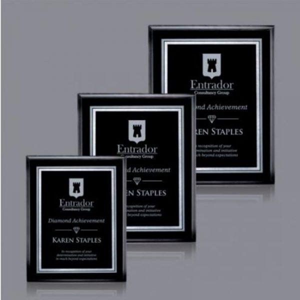 Savoy Silver Florentine Black Economy Award Plaque
