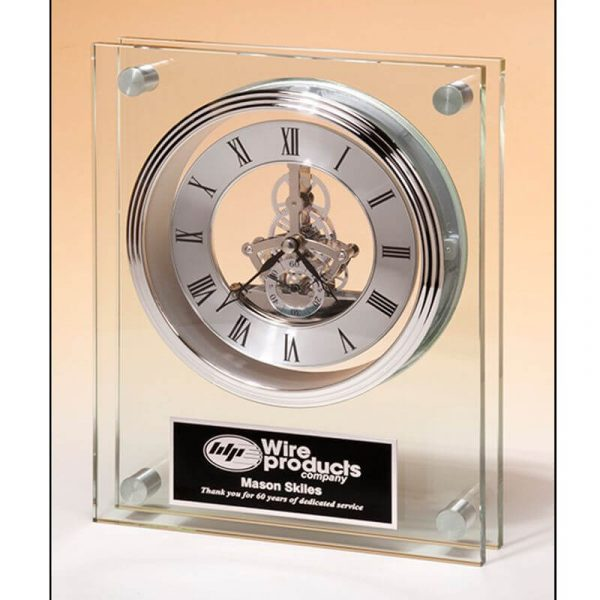 Silver Skeleton Movement Glass Clock