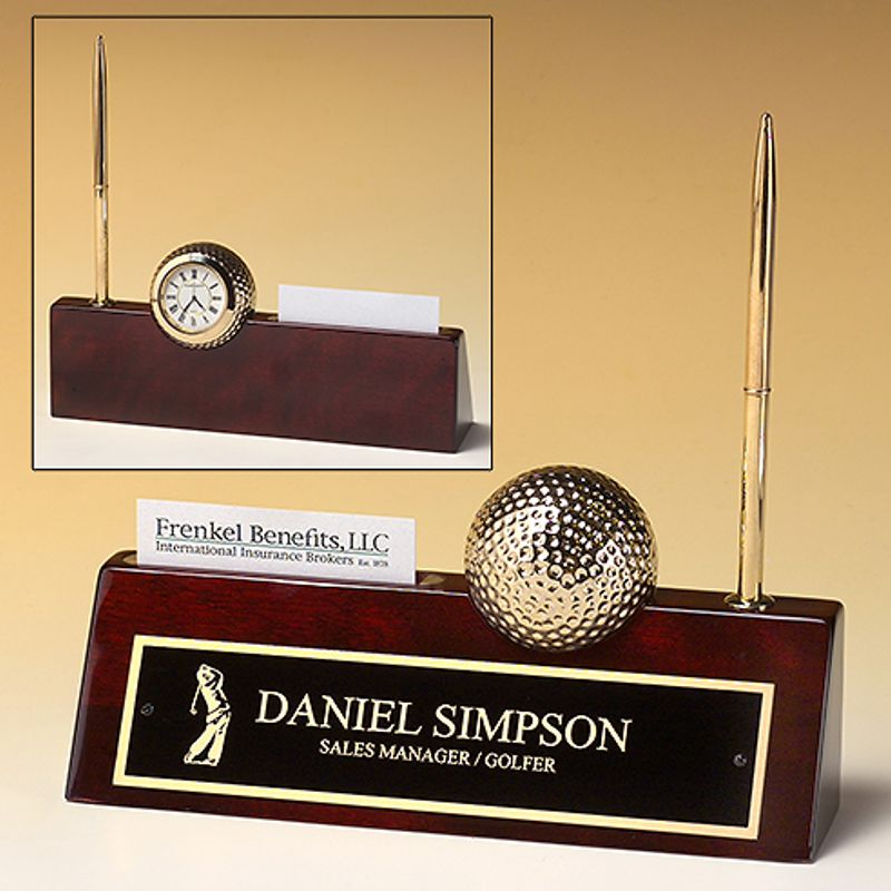 Rosewood Piano Finish Nameplate with Business Card Holder and Pen