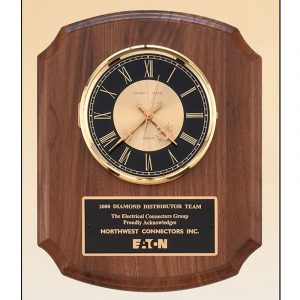 American Walnut Quartz Clock Plaque Award