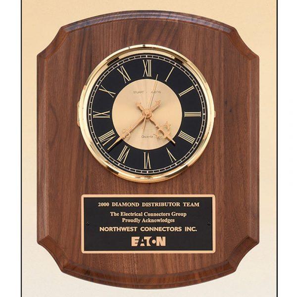 American Walnut Quartz Clock Plaque Award