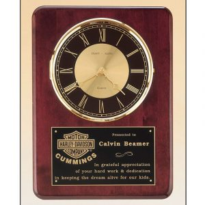 Rosewood Piano Finish Clock Plaque Award