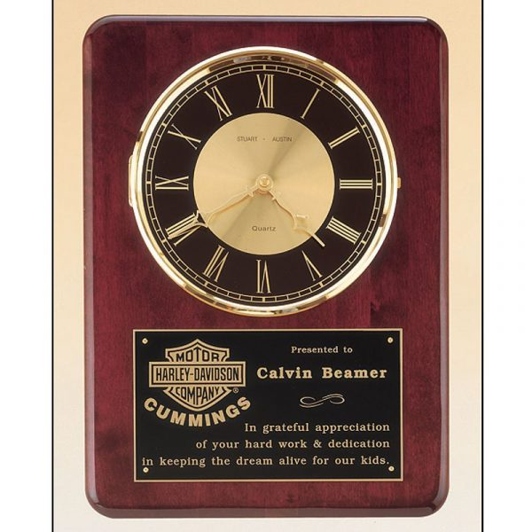Rosewood Piano Finish Clock Plaque Award