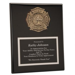 Fire Department Casting Black Piano Finish Plaque