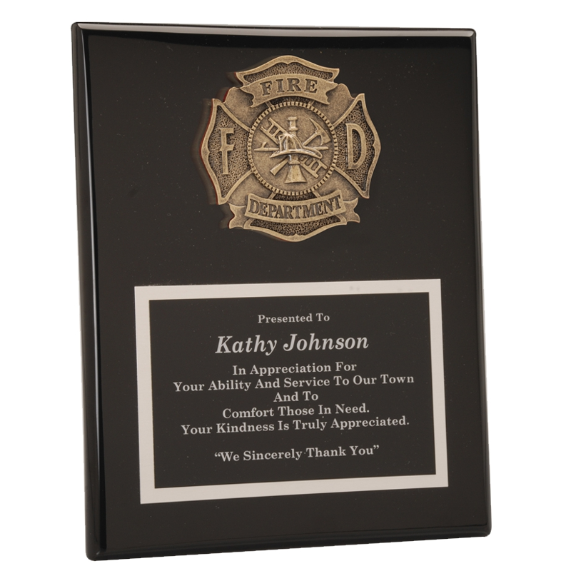 fire department casting black piano finish plaque awardmakers. Black Bedroom Furniture Sets. Home Design Ideas
