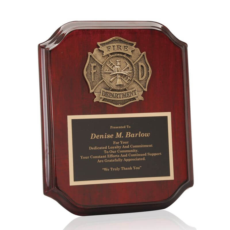 Fire Department Casting Plaque Award
