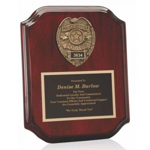 Police Badge Casting Mahogany Plaque Award
