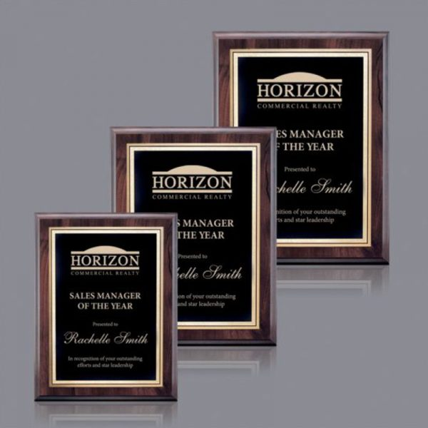 Economy Award Plaque Black Gold Florentine Plate