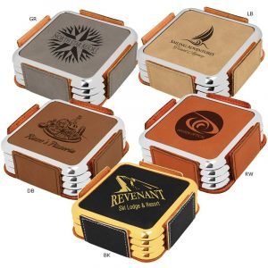 Leatherette Metallic Edge Square 4-Coaster Set
