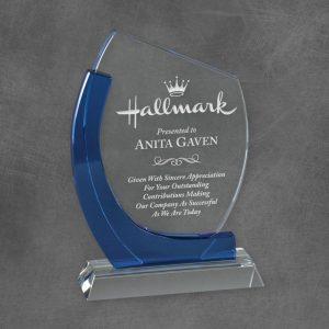 Blue Wave Crystal Trophy