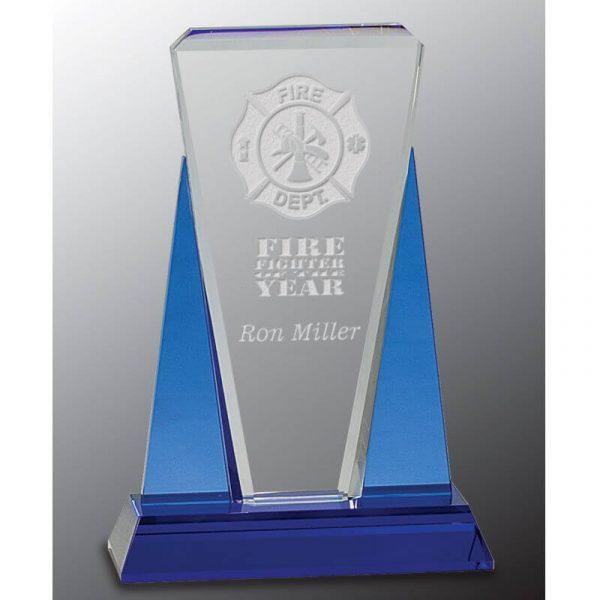 Carlton Blue Clear Crystal Award
