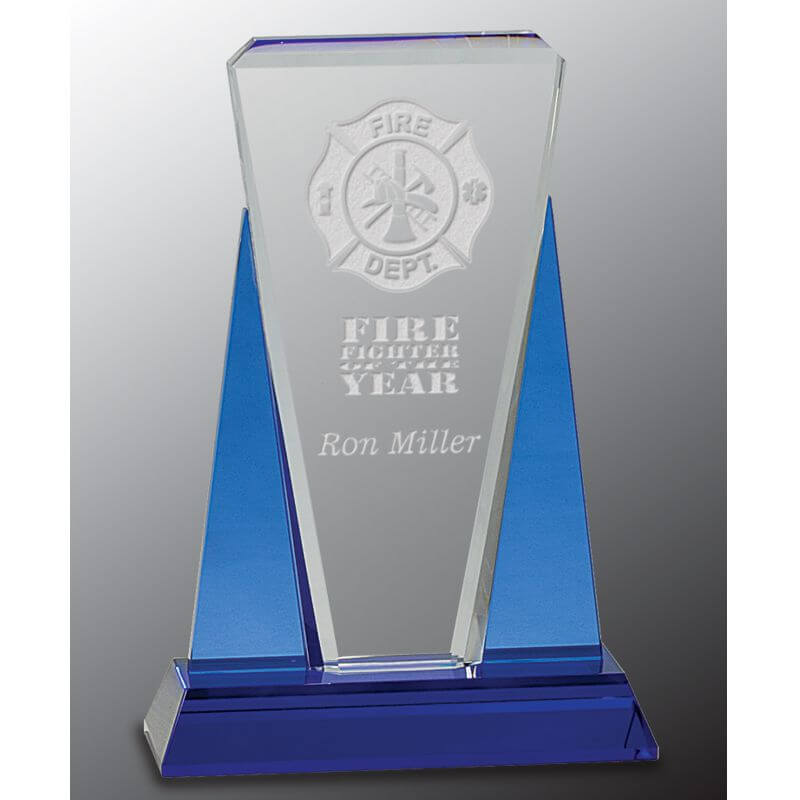 Carlton Blue Clear Crystal Award