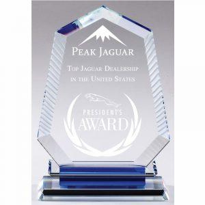 Aurora Blue Optical Crystal Award