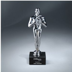 Gleaming Silver Statue of Success Award